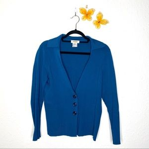 Talbots Blue Button Down Long-Sleeve Cardigan